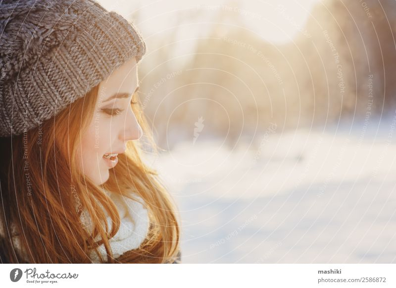 beautiful young woman relaxing on winter walk Lifestyle Joy Relaxation Vacation & Travel Adventure Freedom Winter Snow Winter vacation Woman Adults Nature