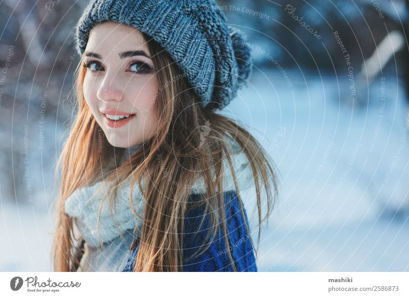 beautiful young woman relaxing on winter walk Lifestyle Joy Relaxation Knit Vacation & Travel Freedom Winter Snow Woman Adults Nature Weather Snowfall Tree