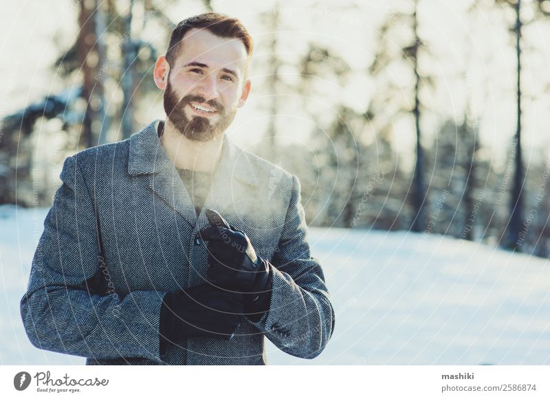 beautiful young bearded men on winter walk Vacation & Travel Man Relaxation Joy Forest Winter Lifestyle Adults Snow Happy Freedom Fashion Gray