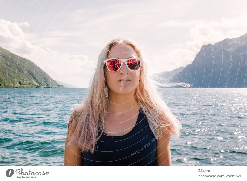 Young woman Portrait of Lake Garda Lifestyle Elegant Style Vacation & Travel Youth (Young adults) 30 - 45 years Adults Nature Landscape Sun Summer