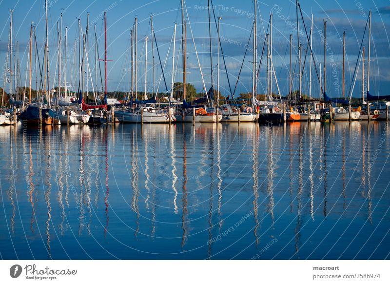 Sailboats at the Baltic Sea Sailing Watercraft Motorboat Drop anchor Jetty Rerik Footbridge Harbour botssteg salt lagoon Lagoon Lake Body of water Blue sky