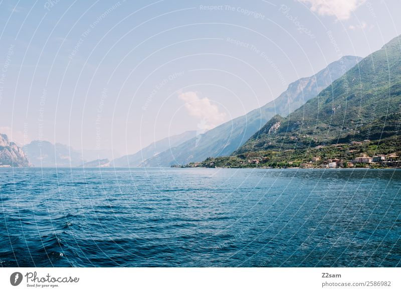 Lake Garda, Malcesine. Nature Landscape Sky Summer Beautiful weather Mountain Lakeside Village Small Town Port City Driving Sustainability Natural Blue Green