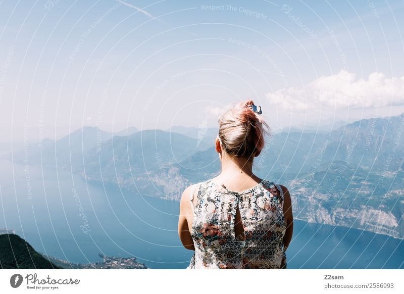 Good prospects Lake Garda. Vacation & Travel Trip Summer Summer vacation Mountain Young woman Youth (Young adults) 18 - 30 years Adults Nature Landscape Sky