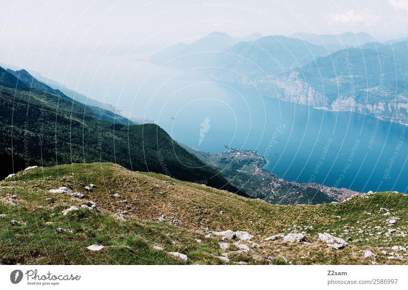 Monte Baldo, Malcesine, Lago di Garda. Vacation & Travel Trip Summer vacation Mountain Hiking Nature Landscape Alps Peak Lakeside Village Tall Warmth Blue