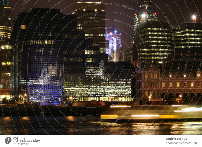 London banks of the Thames at night Night Reflection Europe Light Water River Lloyd Building Architecture