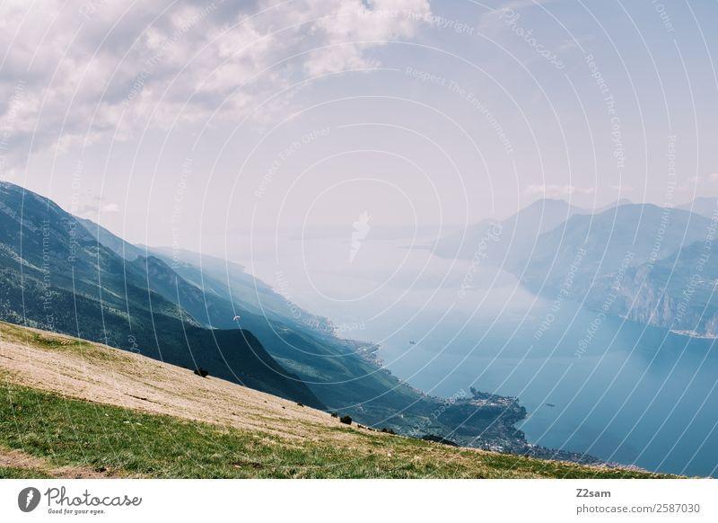 Lake Garda Nature Landscape Summer Beautiful weather Alps Mountain Peak Gigantic Infinity Natural Warmth Blue Green Vacation & Travel Freedom