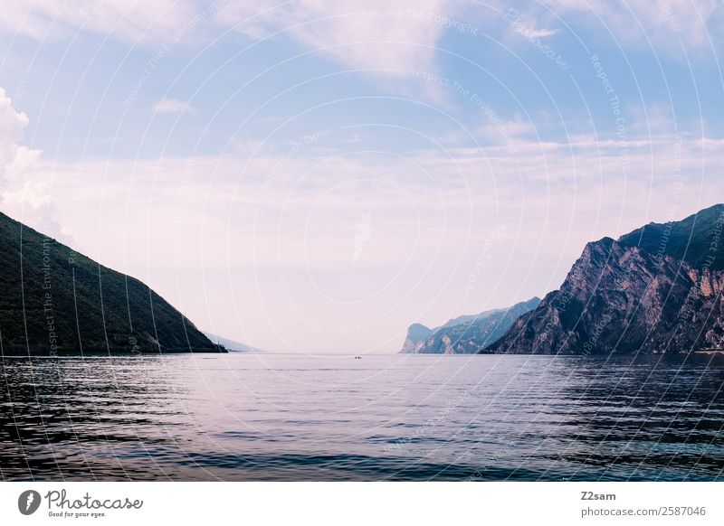 Lake Garda | Italy Nature Landscape Summer Beautiful weather Mountain Lakeside Esthetic Infinity Natural Serene Calm Loneliness Peace Horizon Idyll Climate