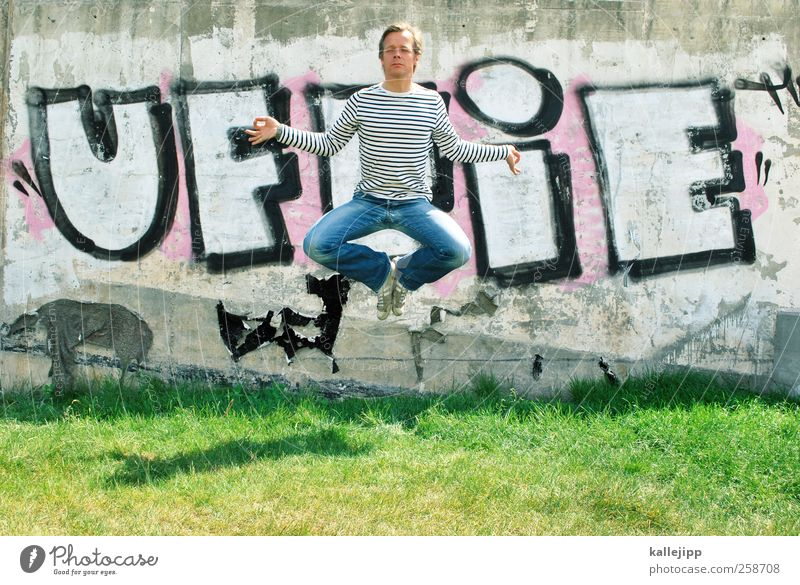 Human being Man Calm Adults Relaxation Life Graffiti Jump Healthy Body Contentment Leisure and hobbies Masculine Lifestyle Wellness Sign