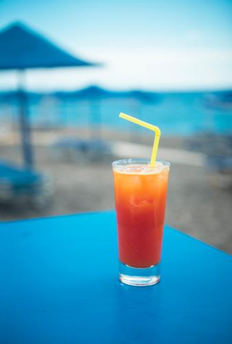 Longdrink at the beach bar Food Beverage Drinking Cold drink Alcoholic drinks Cocktail Glass Lifestyle Joy Relaxation Swimming & Bathing Vacation & Travel