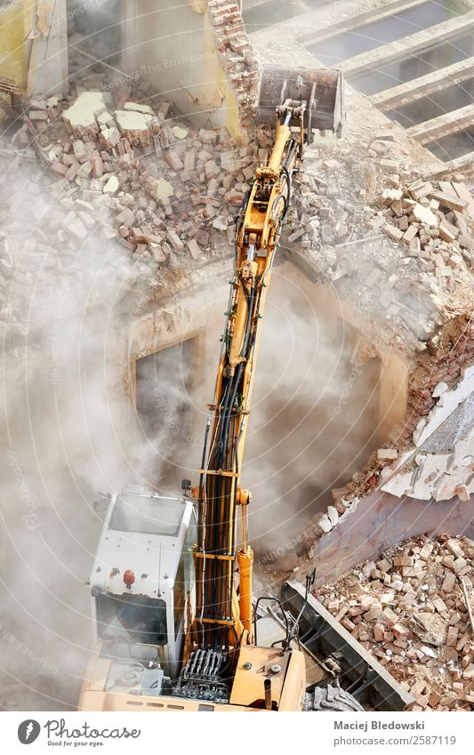 Building demolition with an excavator. House (Residential Structure) Work and employment Construction site Industry Machinery Construction machinery Ruin Old