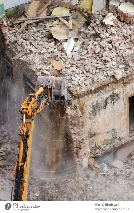 Building demolition with an excavator. House (Residential Structure) Work and employment Profession Construction site Machinery Construction machinery Ruin Old