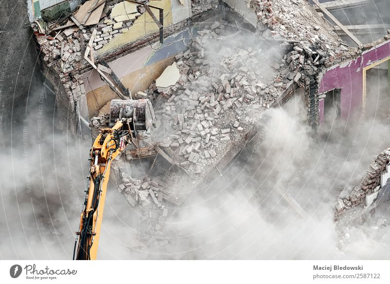 Excavator in dust cloud. House (Residential Structure) Work and employment Workplace Construction site Machinery Construction machinery Ruin Building Transience