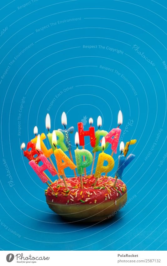 #A# Quite Happy Art Contentment Design Joy To enjoy Kitsch Optimism Emotions Emotion design Donut Birthday Birthday cake Birthday wish Birthday gift Desire