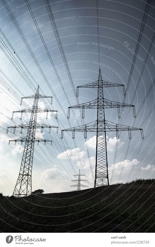power poles High voltage power line Electricity Landscape Sky Summer Blue Black Perspective Environmental protection Structures and shapes Line Colour photo