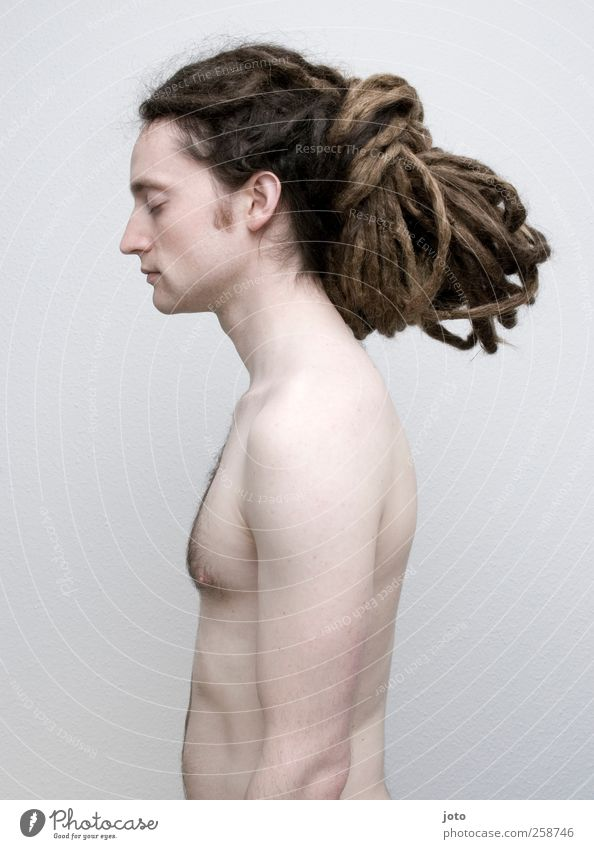 knot Masculine Young man Youth (Young adults) Hair and hairstyles Long-haired Dreadlocks To enjoy Wait Exceptional Hip & trendy Uniqueness Naked Self-confident