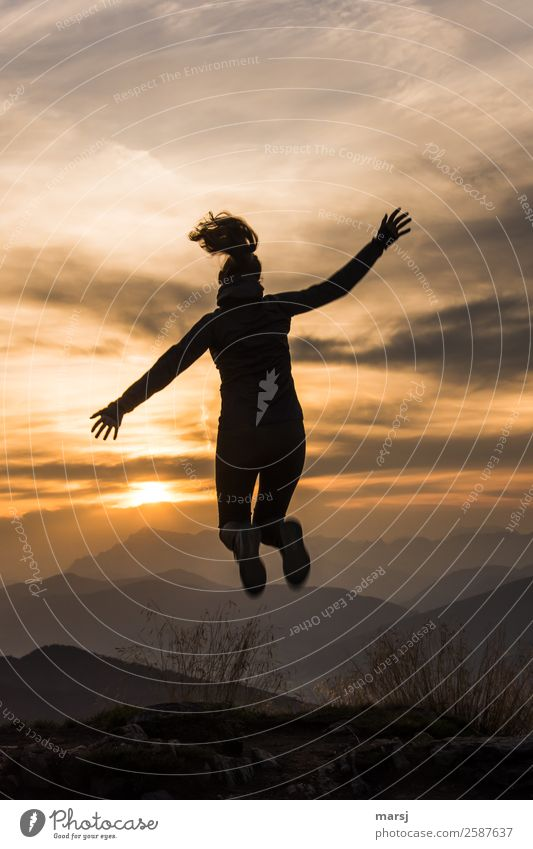 Human being Sky Nature Youth (Young adults) Young woman Clouds Joy Mountain Life Feminine Jump Body 13 - 18 years Joie de vivre (Vitality) Alps Athletic