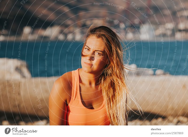 Blonde woman outdoors portrait. Lifestyle Beautiful Body Leisure and hobbies Sun Ocean Sports Fitness Sports Training Human being Feminine Young woman