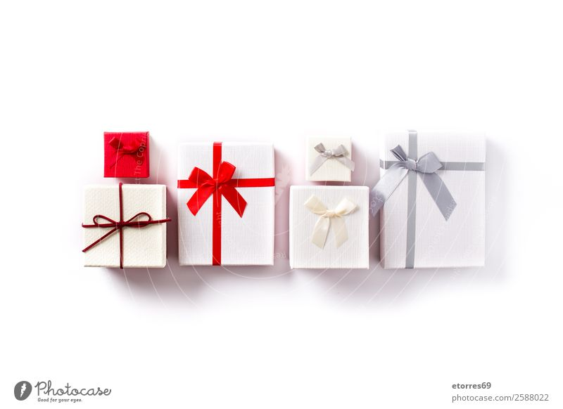 White and red gift boxes isolated on white background. Christmas & Advent Red Feasts & Celebrations Copy Space Decoration Birthday Gift Box Isolated (Position)