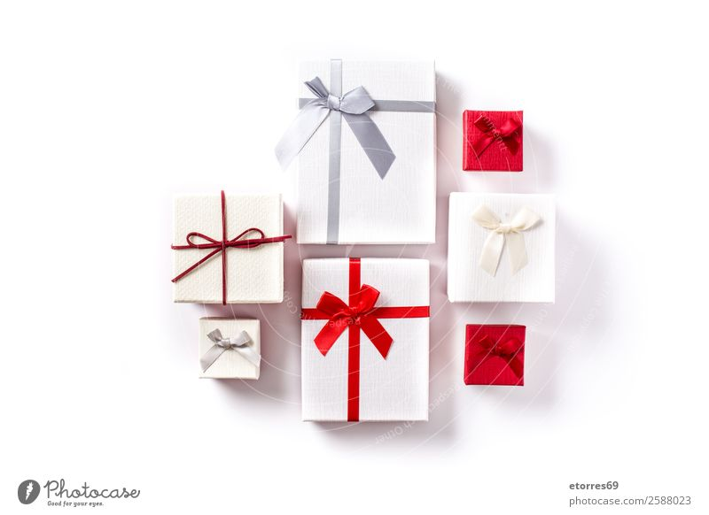 White and red gift boxes isolated Christmas & Advent Red Feasts & Celebrations Copy Space Decoration Birthday Gift Isolated (Position) Valentine's Day
