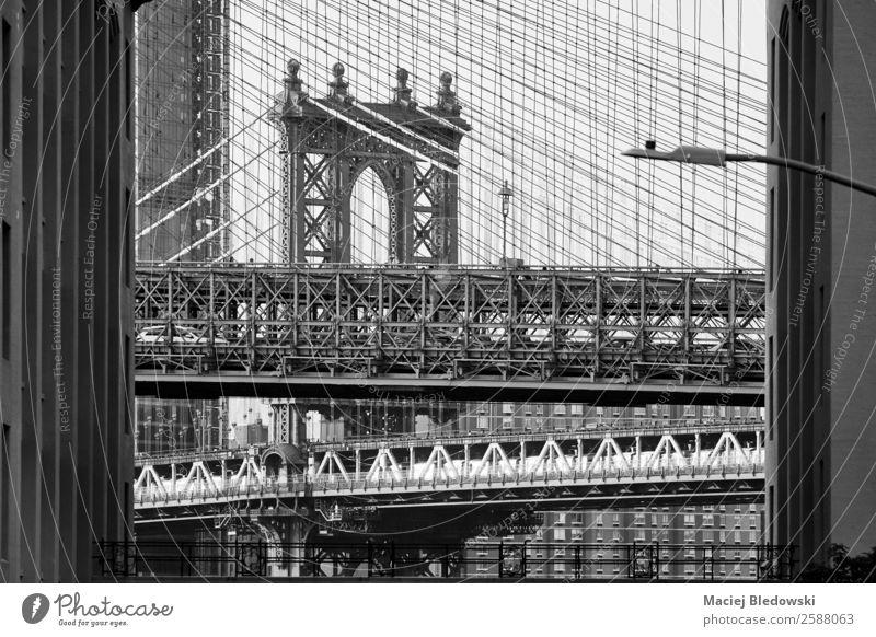 Brooklyn and Manhattan Bridge. Sightseeing City trip Architecture Tourist Attraction Landmark Old Black White New York Symbols and metaphors NYC USA