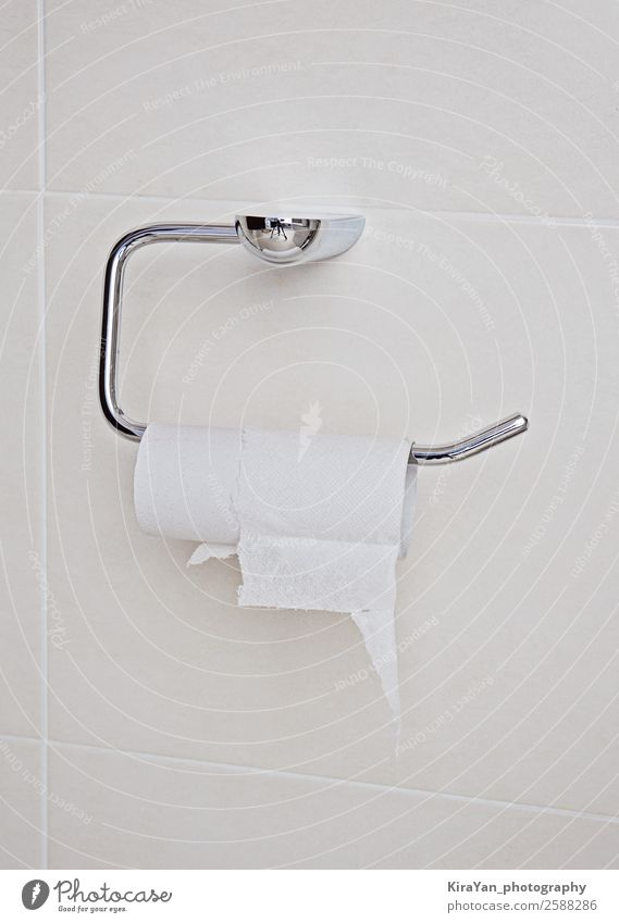 Close up finished toilet tissue in bathroom. Bathroom Bottom Paper Metal Sadness Modern Clean Soft White End roll wc fail failure bad luck failing collapse