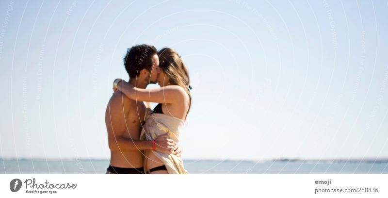 I want sea Masculine Feminine Young woman Youth (Young adults) Young man Couple 2 Human being Sky Cloudless sky Summer Beautiful weather Warmth Ocean Blue