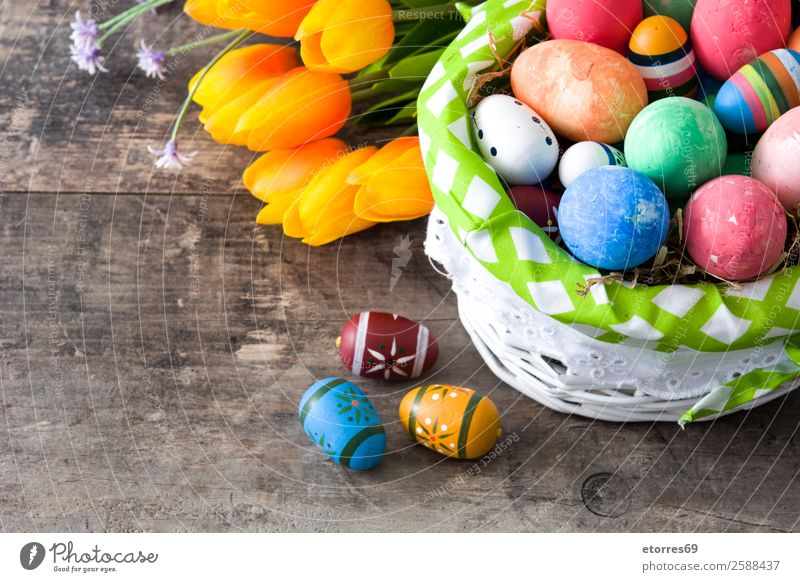 Easter eggs in a basket on wooden background Vacation & Travel Colour Flower Background picture Wood Feasts & Celebrations Decoration Tradition Egg
