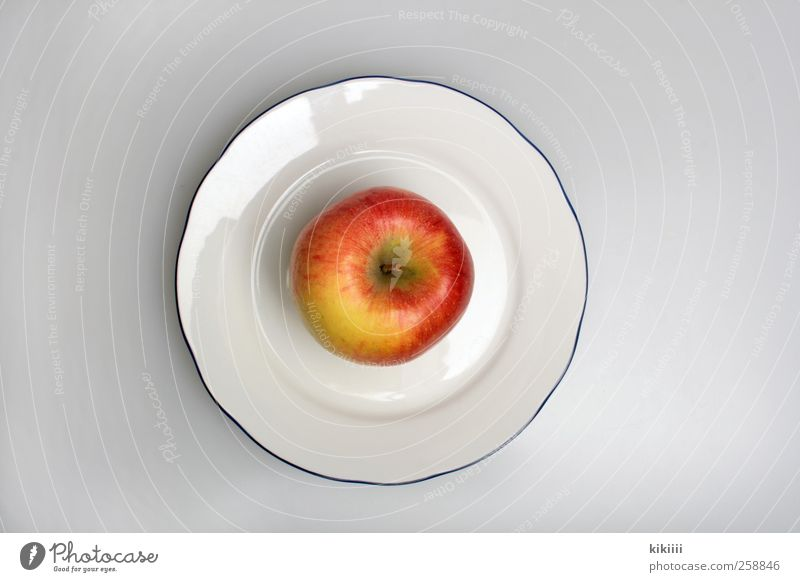 breakfast Fruit Apple Nutrition Breakfast Lunch Picnic Organic produce Vegetarian diet Diet Crockery Plate Symmetry Colour photo Studio shot Copy Space left
