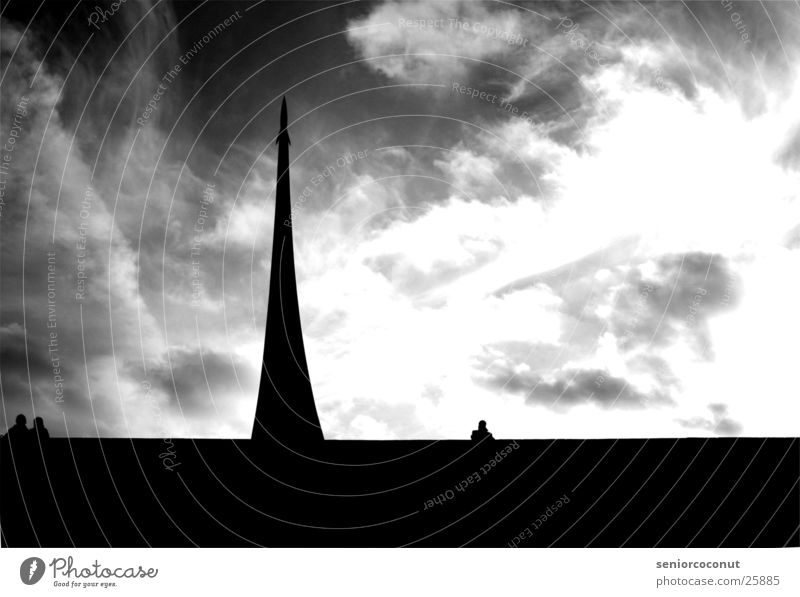 sputnik Moscow Astronaut Monument Sputnik Clouds Europe Black & white photo