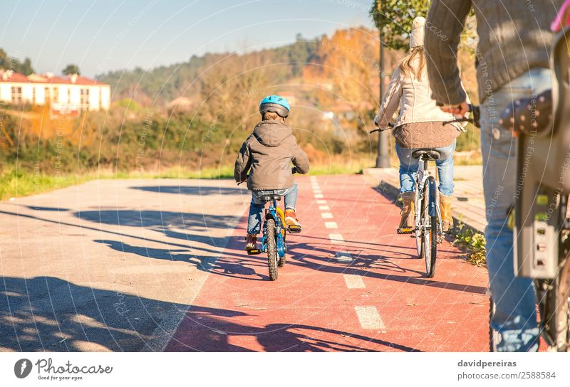 Back view of happy family with children riding bicycles Lifestyle Happy Relaxation Leisure and hobbies Sun Winter Sports Child Baby Boy (child) Woman Adults Man