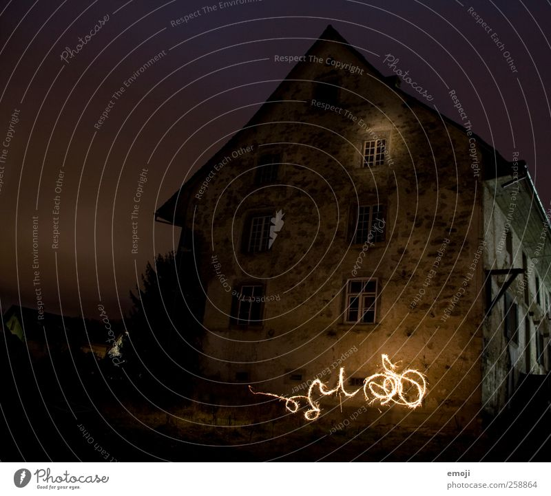 House (Residential Structure) Dark Window Wall (building) Wall (barrier) Facade Exceptional Threat Painting (action, artwork) Hut Visual spectacle Light show Detached house Night shot Glowworms