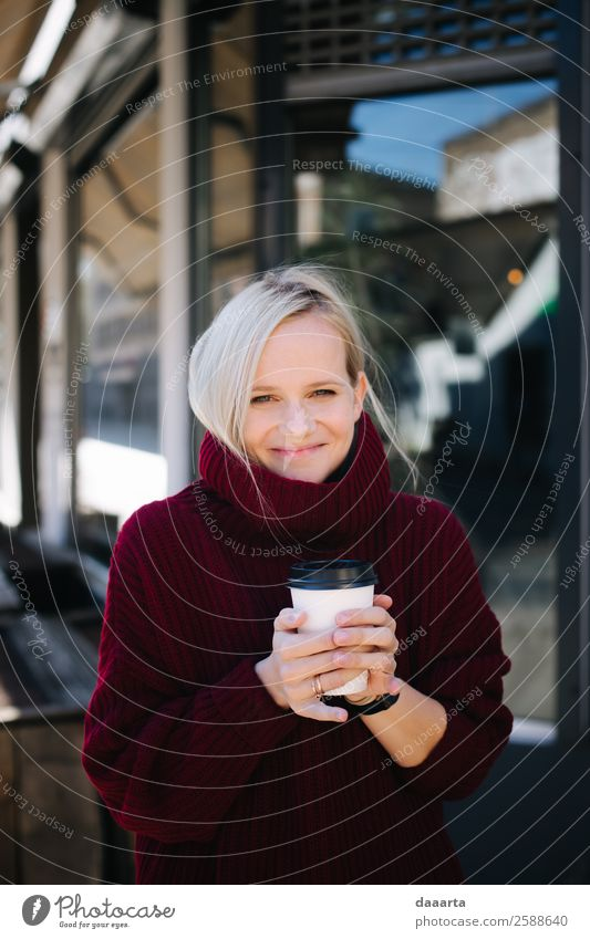 coffee lovers Human being Youth (Young adults) Young woman Joy Lifestyle Adults Autumn Feminine Emotions Style Freedom Moody Living or residing Smiling