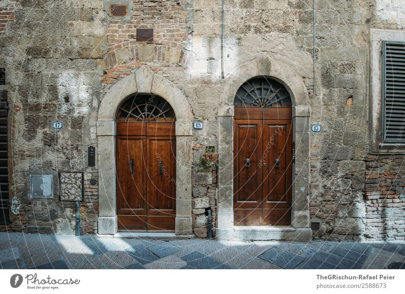 2 doors down Village Small Town Blue Brown Gray Black Door House (Residential Structure) Neighbor Italy Tuscany Ancient Wall (barrier) Light Shadow
