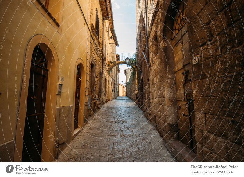 Italy Village Small Town Old Brown Yellow Gold Gray Travel photography Alley Street Wall (barrier) Manmade structures House (Residential Structure) Tuscany