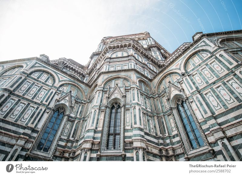 Cathedral - Florence Town Old Santa Maria del Fiore Building Church Window Detail Religion and faith Italy Sky Colour photo Exterior shot Copy Space top Day