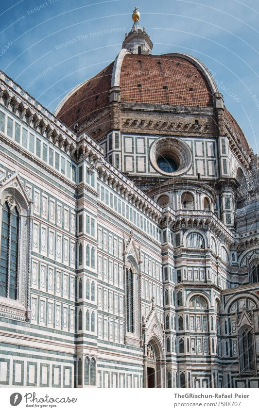 Florence Town Blue Brown Cathedral Santa Maria del Fiore Italy Valued touristic Tourist Tourism Church Religion and faith Detail Work of art Travel photography