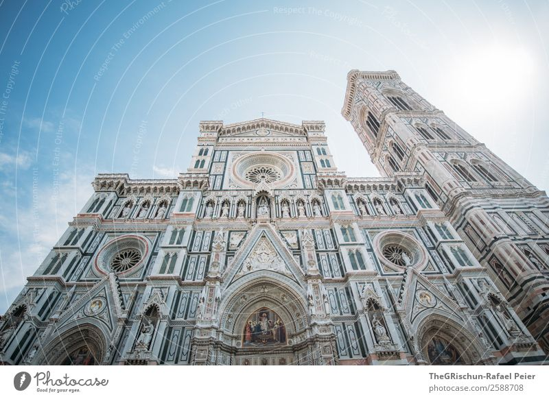 santa maria del fiore Town Old Manmade structures Work of art Italy Florence Cathedral Santa Maria del Fiore Tower Art Esthetic Tourism Back-light Sun