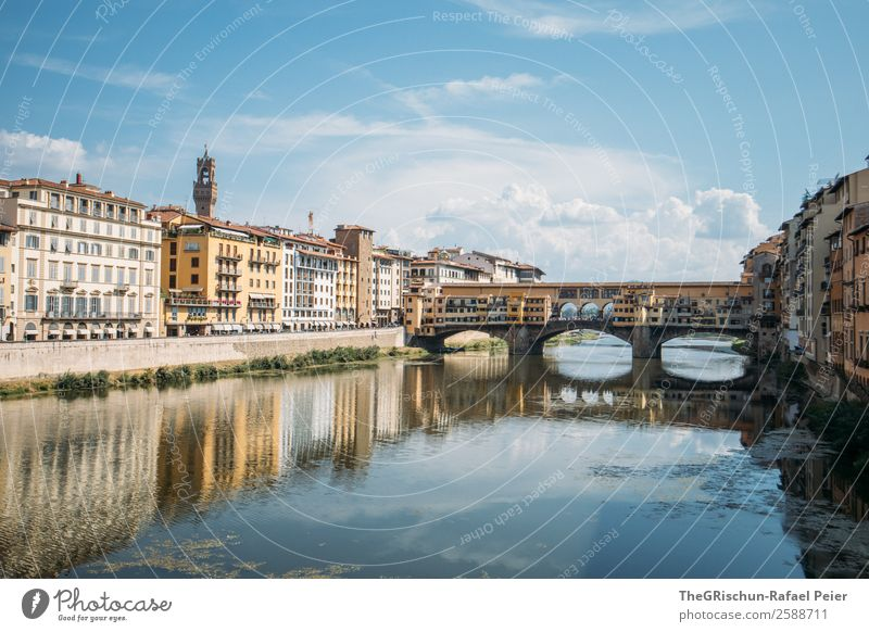 Florence Town Blue Sightseeing Architecture Bridge Reflection Italy To go for a walk Tourism Travel photography Discover Colour photo Exterior shot Deserted