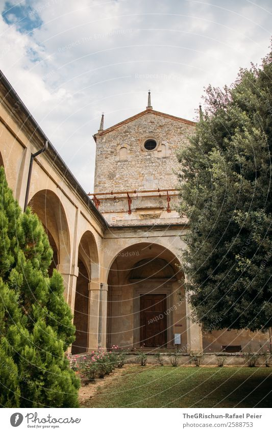 monasteries Church Old Esthetic Monastery Italy Manmade structures Tree Clouds Religion and faith Travel photography Break Arch Door Wall (barrier) Colour photo