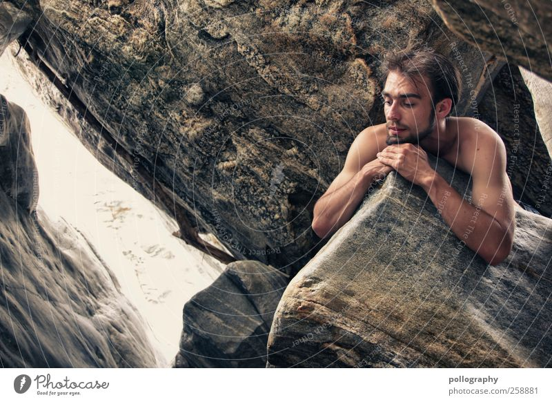 remember me?! Human being Masculine Young man Youth (Young adults) Man Adults Life Head Arm 1 18 - 30 years Nature Landscape Summer Beautiful weather Rock Naked