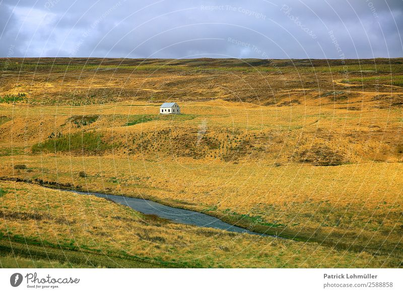 Iceland's metropolises Living or residing House (Residential Structure) Environment Nature Landscape Earth Water Sky Climate Beautiful weather Grass Hill Island