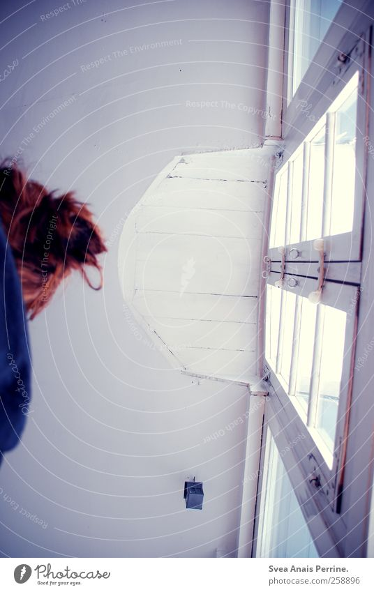Human being Cold Window Hair and hairstyles Sadness Window pane Ceiling Red-haired Chignon Window frame