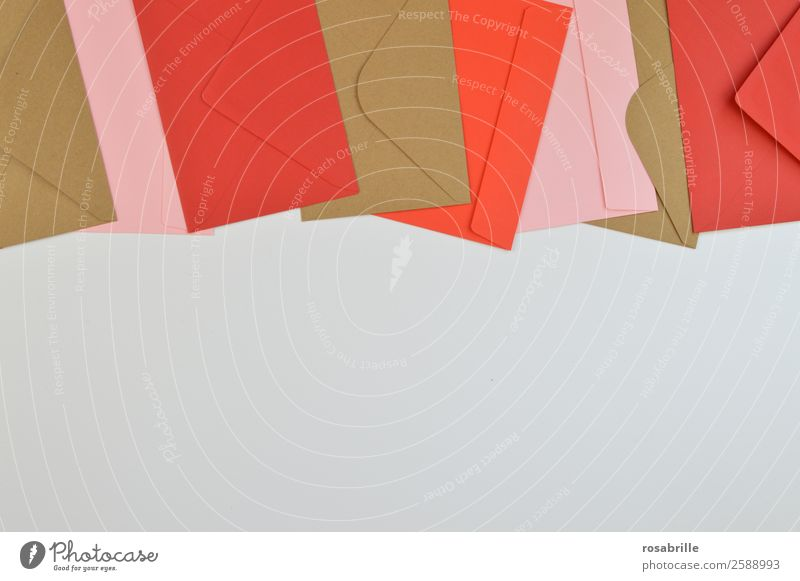 colourful envelopes in a row Leisure and hobbies Salutation Invitation Email Write Stationery Paper Letter (Mail) Envelope (Mail) Information Above Brown Pink