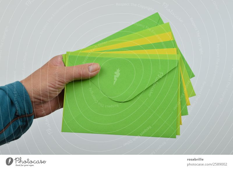 Mail for you Invitation Hand Stationery Paper Collection Letter (Mail) Envelope (Mail) Postman Salutation Vacation good wishes Multicoloured Yellow Green Give