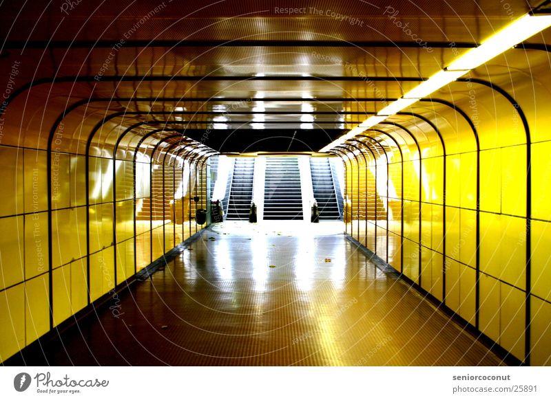 Yellow Architecture Underground Neon light Way out Subsoil Bonn Escalator