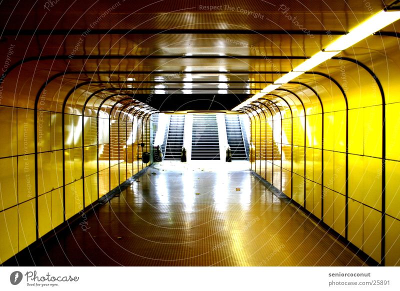 Yellow Architecture Underground Neon light Way out Subsoil Bonn Escalator