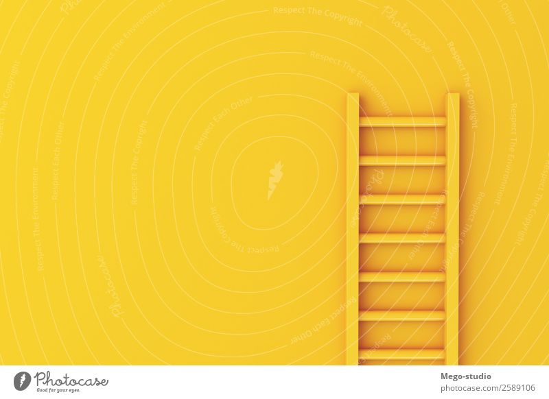 3d Ladder on yellow wall background. Climbing Mountaineering Success Work and employment Business Career Tool Building Stairs Growth Tall Safety Idea ladder
