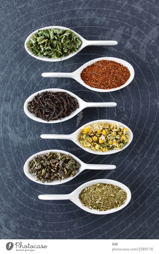 Variety of Dried Tea Leaves Beverage Natural food drink dry Tea plants rooibos Chamomile camomile mate yerba herbal Selection Red bush rooibosch infusion flavor