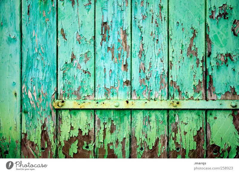 structured Style Design Wall (barrier) Wall (building) Door Gate Wood Illuminate Old Exceptional Uniqueness Green Colour Nostalgia Decline Transience Turquoise