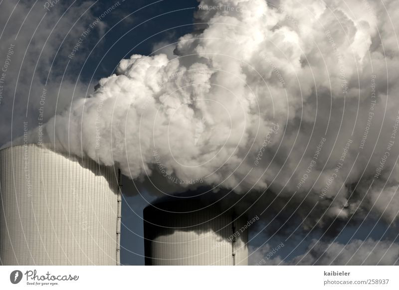 Blue White Clouds Gray Dirty Energy Energy industry Electricity Industry Exhaust gas Chimney Climate change Carbon dioxide Steam Industrial plant
